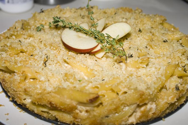 Apple Cheddar Penne Pie   Bakerlady