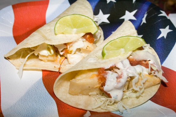 Fish tacos with cilantro lime sour cream bakerlady for Sour cream sauce for fish tacos