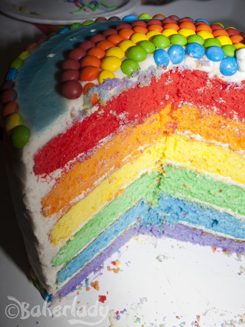 Three Layer Rainbow Cake