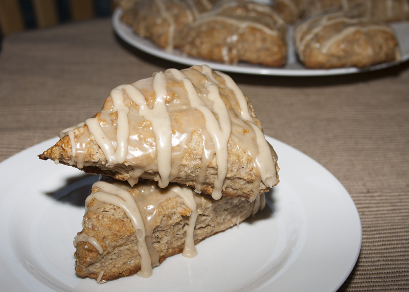 Double Brown Sugar Butter Glazed Banana Bread Scones | Bakerlady