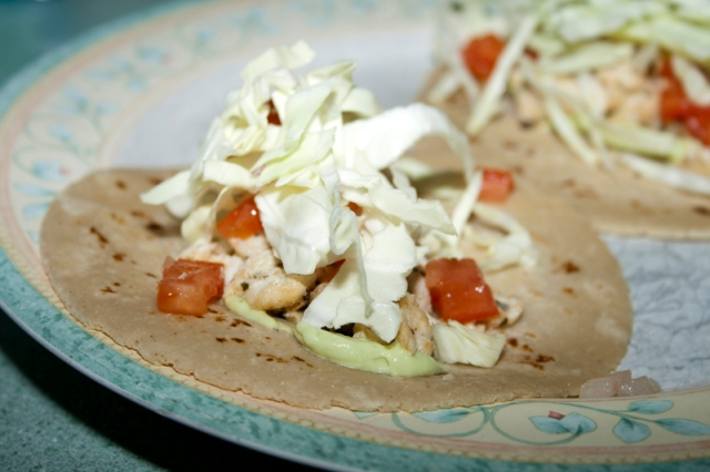 Fish Tacos with Tequila Lime Avocado Creme
