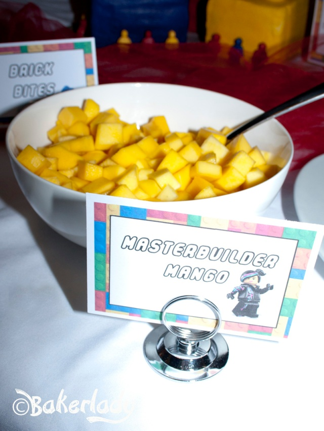 Masterbuilder Mango Lego Party Food - Bakerlady