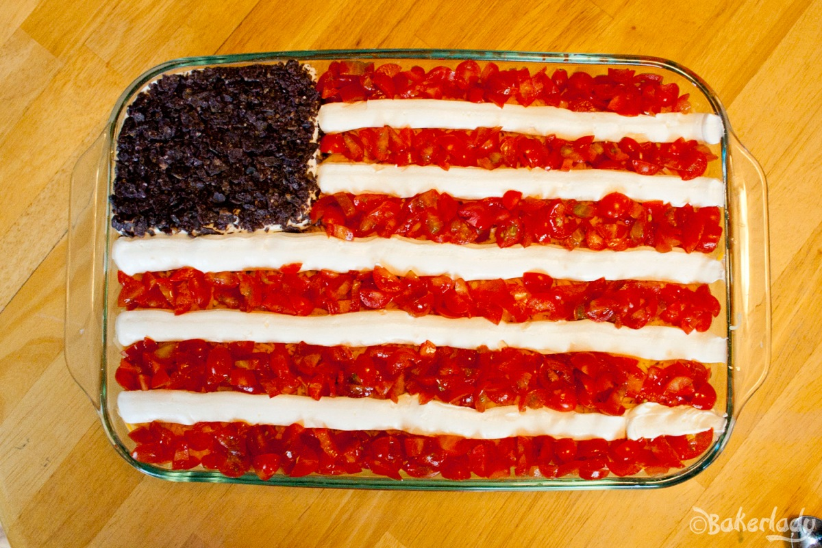 Fourth of July Flag Bean Dip