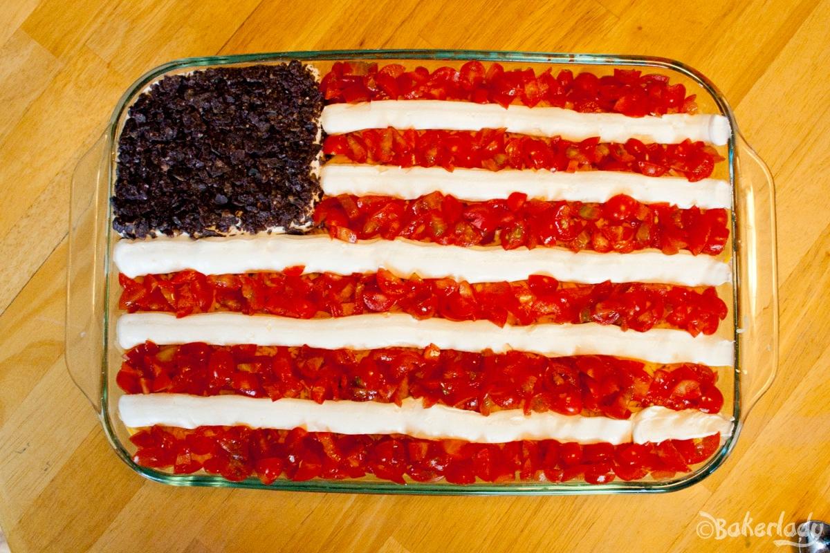 Fourth of July Flag Bean Dip