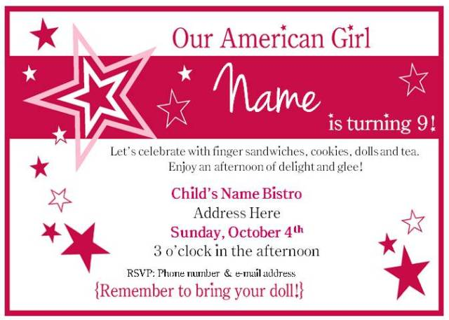 american girl tea party birthday  bakerlady, Birthday invitations