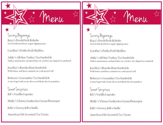 American Girl Party Menu